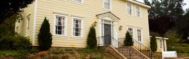 Farmhouse - Yellow Siding - Brick Steps - Front Door